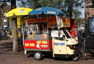 Hot Dog verkoper in Amsterdam